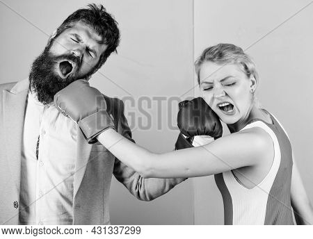 Sport For Everyone. Family Couple Boxing Gloves. Bearded Man Hipster Fighting With Woman. Knockout P