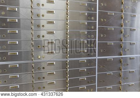 Safe Deposit Boxes At A Bank. A Safe Deposit Box Provides A Safe And Secure Location To Store Valuab