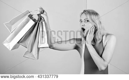 Quality Service. Big Sale. Female Shopaholic Hold Shopping Bags. Present Packages For Holiday Prepar