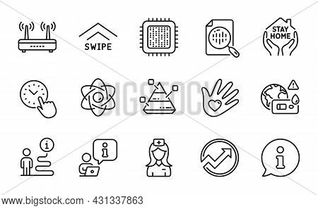 Science Icons Set. Included Icon As Hospital Nurse, Social Responsibility, Pyramid Chart Signs. Time