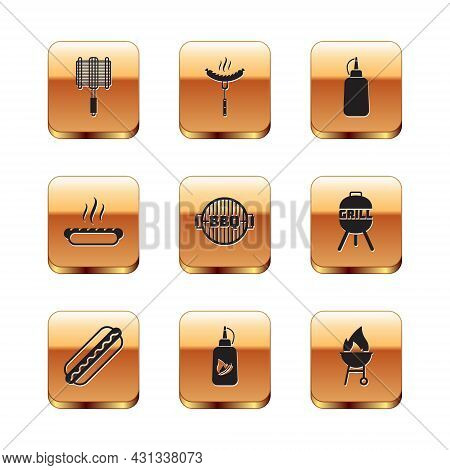 Set Barbecue Steel Grid, Hotdog Sandwich, Ketchup Bottle, Grill, Mustard, And Sausage On The Fork Ic