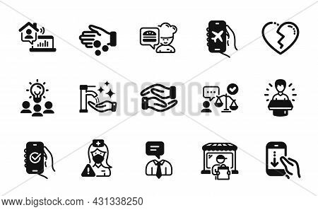 Vector Set Of Work Home, Support Service And Chef Icons Simple Set. Approved App, Broken Heart And L