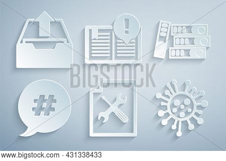 Set File Document Service, Office Folders, Hashtag Speech Bubble, Bacteria, Interesting Facts And Up