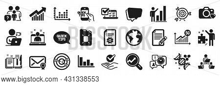 Set Of Education Icons, Such As Histogram, Chemistry Dna, Strategy Icons. Article, Teamwork, Graph C