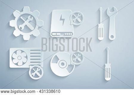 Set Cd Or Dvd Disk Service, Screwdriver And Wrench, Air Conditioner, Power Bank And Wrench Screwdriv