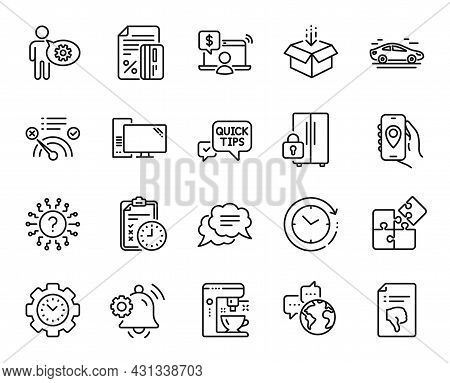 Vector Set Of Car, Quick Tips And Exam Time Line Icons Set. Online Shopping, Thumb Down And Notifica