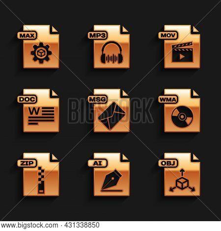 Set Msg File Document, Ai, Obj, Wma, Zip, Doc, Mov And Max Icon. Vector