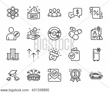 Vector Set Of Refrigerator, Loan Percent And Throw Hats Line Icons Set. Payment Received, Chemistry