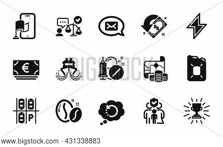 Vector Set Of Trophy, Energy And Canister Oil Icons Simple Set. Parking Place, Family Insurance And