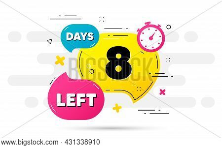 Eight Days Left Icon. Countdown Number On Abstract Flow Pattern. 8 Days To Go Sign. Count Offer Date