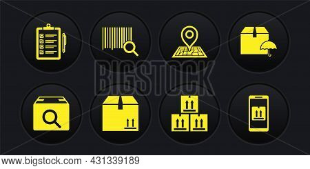 Set Search Package, Delivery With Umbrella, Cardboard Box Traffic, Placeholder On Map, Barcode, Mobi