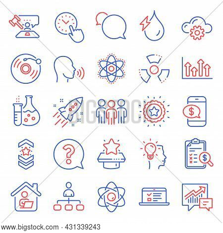 Education Icons Set. Included Icon As Hydroelectricity, Management, Upper Arrows Signs. Question Mar