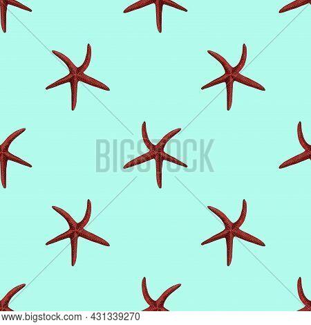 Watercolor Illustration Of Starfish Seamless Pattern On Background