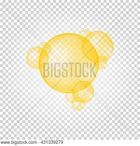 Golden Glossy Bubbles. Collagen Droplets, Keratin, Q10, Argan, Jojoba Cosmetic Oil, Vitamin A Or E,