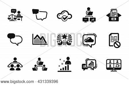 Vector Set Of Ranking, Cloud Communication And Stats Icons Simple Set. Cloud Computing, Teamwork And