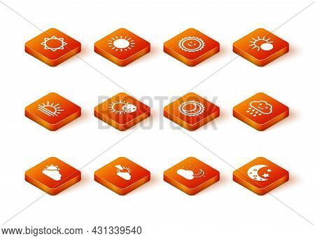Set Sun And Cloud Weather, Sunset, Eclipse Of Sun, Cloud With Moon Stars, Moon And Rain Icon. Vector
