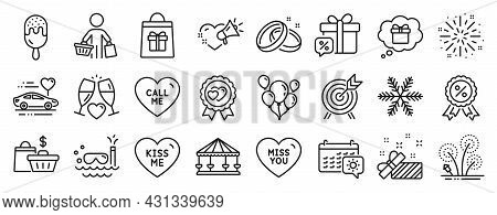 Set Of Holidays Icons, Such As Fireworks, Ice Cream, Sale Gift Icons. Call Me, Wedding Glasses, Trav