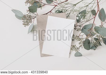 Wedding, Birthday Stationery Composition. Blank Greeting Card, Invitation Mockup And Craft Envelope.