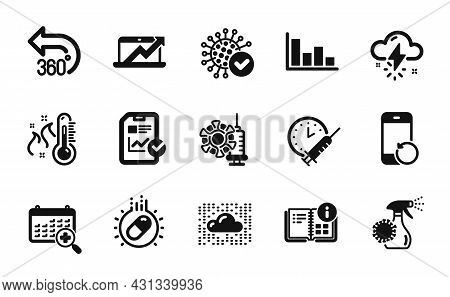 Vector Set Of Capsule Pill, Report Checklist And Thunderstorm Weather Icons Simple Set. Medical Cale