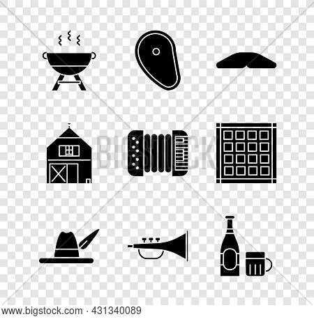 Set Barbecue Grill, Steak Meat, Homemade Pie, Oktoberfest Hat, Musical Instrument Trumpet, Beer Bott