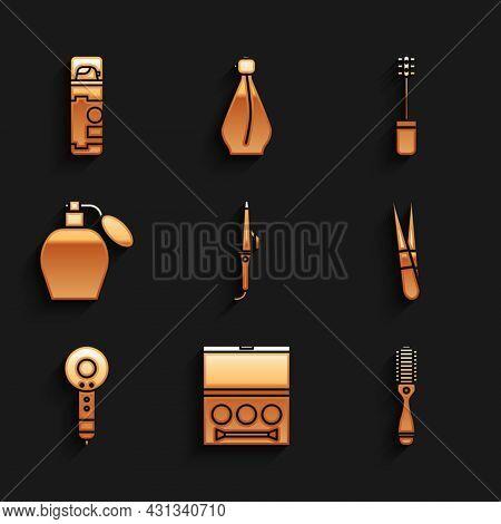 Set Curling Iron, Eye Shadow Palette, Hairbrush, Eyebrow Tweezers, Dryer, Perfume, Mascara And Shavi