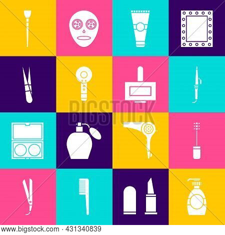 Set Bottle Of Liquid Soap, Mascara Brush, Curling Iron, Lotion Cosmetic Tube, Hair Dryer, Eyebrow Tw