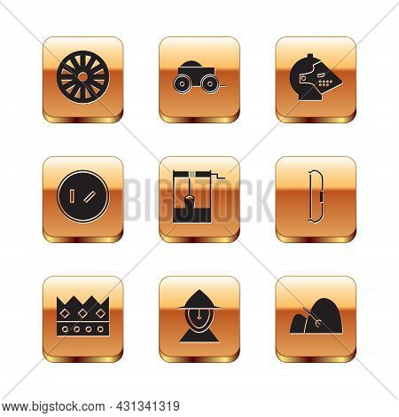 Set Old Wooden Wheel, King Crown, Medieval Iron Helmet, Well With Bucket, Round Shield, Bale Of Hay