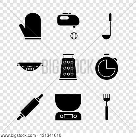 Set Oven Glove, Electric Mixer, Kitchen Ladle, Rolling Pin, Electronic Scales, Fork, Colander And Gr
