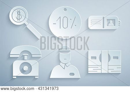 Set Seller, Wallet, Telephone, Stacks Paper Money Cash, Ten Discount Percent Tag And Magnifying Glas