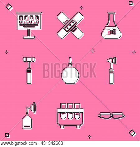 Set Eye Test Chart, Crossed Bandage Plaster, Test Tube Flask, Neurology Reflex Hammer, Enema, Medica
