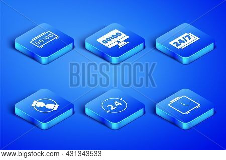 Set Alarm Clock, Digital Alarm, Clock 24 Hours, Old Hourglass, On Monitor And Icon. Vector
