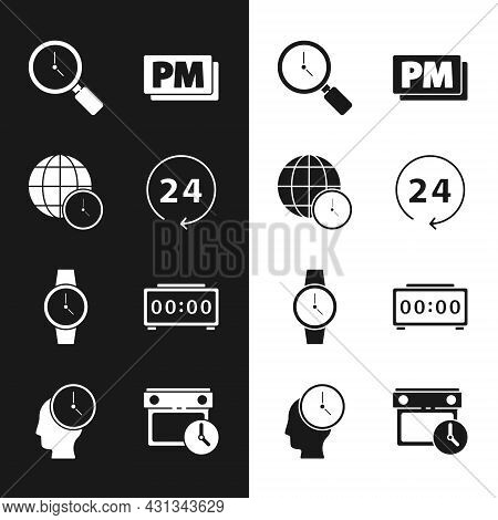 Set Clock 24 Hours, World Time, Magnifying Glass With Clock, Pm, Wrist Watch, Digital Alarm, Calenda