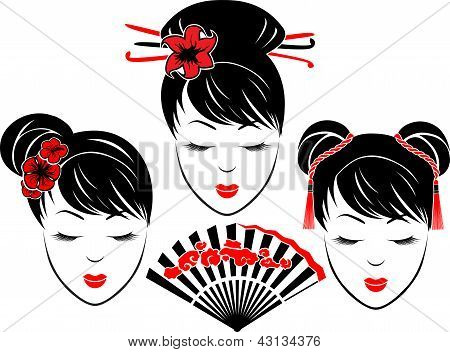 Three portraits of Asian girls