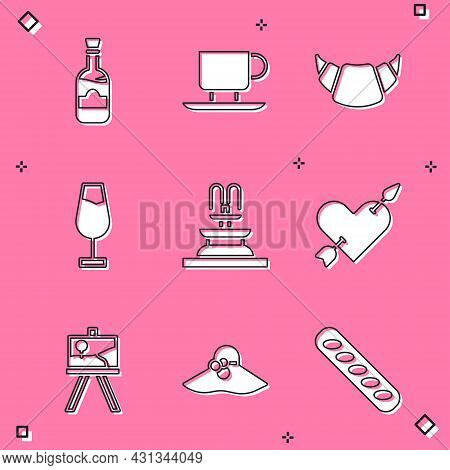 Set Bottles Of Wine, Coffee Cup, Croissant, Wine Glass, Fountain, Amour With Heart And Arrow, Easel