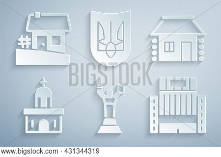 Set Mother Motherland Monument, Ukrainian House, Church Building, Hotel Ukraina, Trident And Icon. V