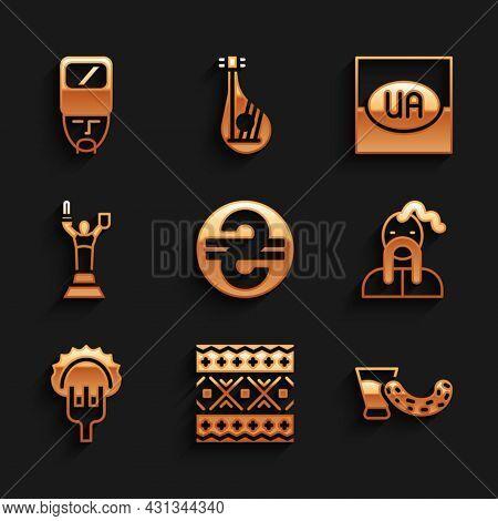 Set Ukrainian Hryvnia, Ethnic Pattern, Glass With Vodka, Cossack, Dumplings On Fork, Mother Motherla