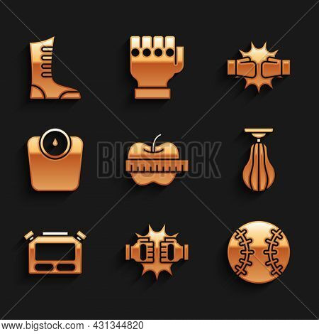 Set Apple And Measuring Tape, Punch Boxing Gloves, Baseball Ball, Punching Bag, Stopwatch, Bathroom