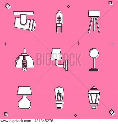 Set Led Track Lights And Lamps, Light Emitting Diode, Floor, Chandelier, Wall Sconce, Table And Bulb