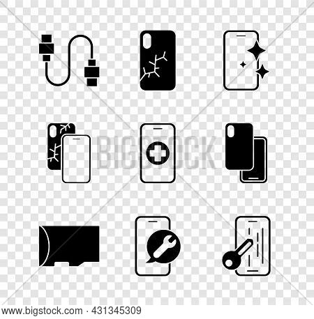 Set Usb Cable Cord, Mobile With Broken Screen, Glass Protector, Micro Sd Memory Card, Service, And P