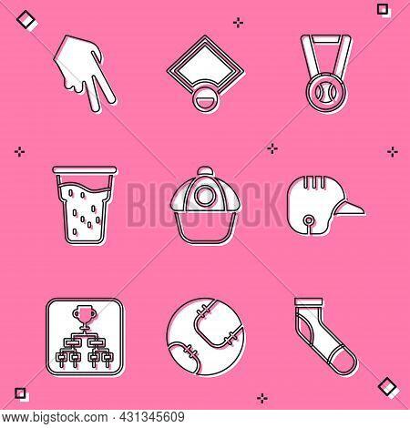 Set Baseball Glove, Field, Medal With Baseball, Glass Of Beer, Cap, Helmet, Championship Tournament