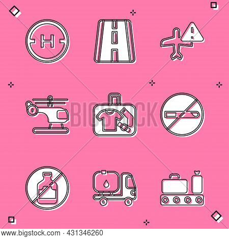 Set Helicopter Landing Pad, Airport Runway, Warning Aircraft, Suitcase, No Smoking, Alcohol And Fuel