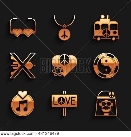Set Love Peace, Peace, Hippie Girl, Yin Yang Symbol, Vinyl Disk, No War, Camper Van And Heart Shaped