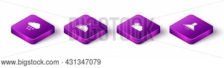 Set Isometric Cloud With Snow, Covered Tray Of Food, Sun And Cloud Weather And Kitchen Extractor Fan