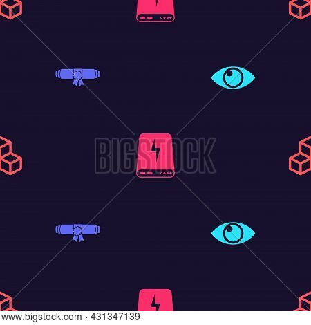 Set Eye, Diploma Rolled Scroll, Power Bank And Isometric Cube On Seamless Pattern. Vector