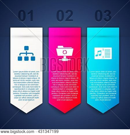 Set Hierarchy Organogram Chart, Ftp Sync Refresh And Music Book With Note. Business Infographic Temp
