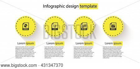 Set Wma File Document, Js, Doc And Mov. Business Infographic Template. Vector