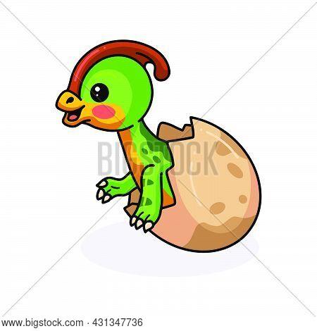 Vector Illustration Of Cute Little Parasaurolophus Dinosaur Cartoon Hatching From Egg