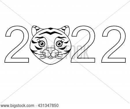 2022 With Cute Tiger Face, Year Of The Tiger Vector Linear Lettering. Outline. Year Of The Tiger. Ne