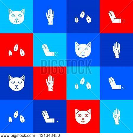 Set Pet, Hand With Psoriasis Or Eczema, Sesame Seeds And Inhaler Icon. Vector