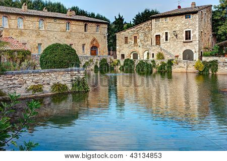 old thermal baths in Bagno Vignoni, Iraly